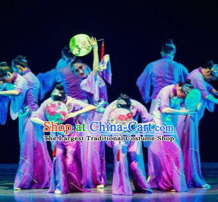 Dance Between Heaven and Earth Chinese Classical Dance Fan Dance Purple Dress Stage Performance Dance Costume and Headpiece for Women