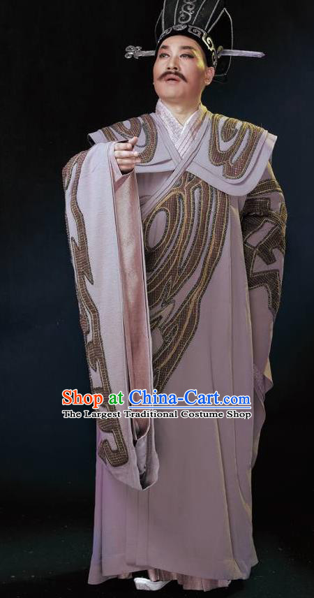 Chinese King Zhuang of Chu Ancient Spring and Autumn Period Minister Clothing Stage Performance Dance Costume for Men