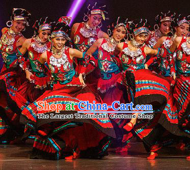 Dance Between Heaven and Earth Chinese Yi Nationality Dance Red Dress Stage Performance Dance Costume and Headpiece for Women