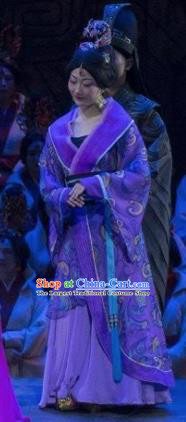 Chinese King Zhuang of Chu Ancient Spring and Autumn Period Court Purple Dress Stage Performance Dance Costume and Headpiece for Women