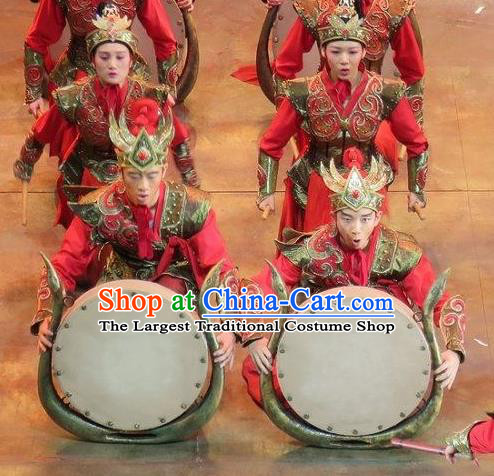 Chinese King Zhuang of Chu Ancient Spring and Autumn Period Soldier Clothing Stage Performance Dance Costume for Men