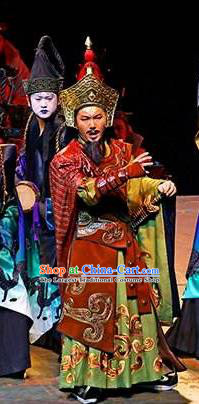 Chinese King Zhuang of Chu Ancient General Clothing Stage Performance Dance Costume for Men