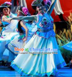 Walking Marriage Chinese Mosuo Minority Dance Blue Dress Stage Performance Dance Costume and Headpiece for Women
