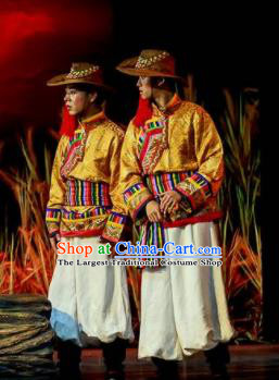 Walking Marriage Chinese Mosuo Nationality Bridegroom Dance Golden Clothing Stage Performance Dance Costume for Men