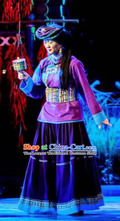 Walking Marriage Chinese Mosuo Minority Folk Dance Purple Dress Stage Performance Dance Costume and Headpiece for Women