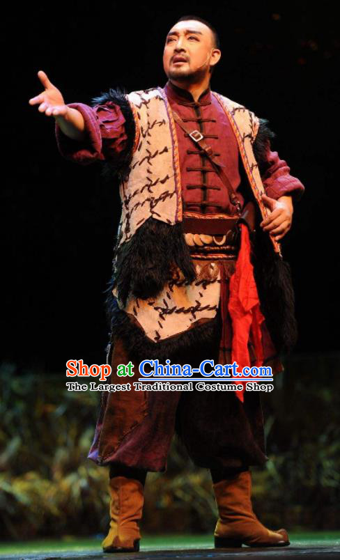 Walking Marriage Chinese Mosuo Nationality Warrior Clothing Stage Performance Dance Costume for Men