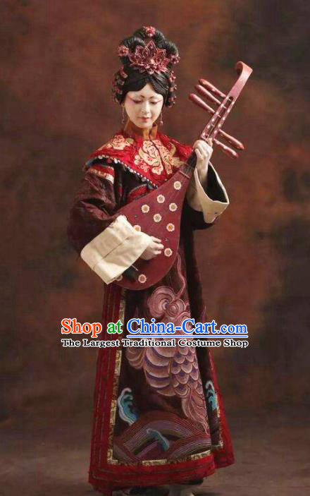 Chinese Pingtan Impression Ancient Qing Dynasty Purplish Red Dress Stage Performance Dance Costume and Headpiece for Women