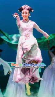 Nostalgia Is A Disease Chinese Qing Dynasty Princess Dress Stage Performance Dance Costume and Headpiece for Women