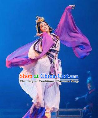 Guan Gong Chinese Classical Dance Purple Dress Stage Performance Dance Costume and Headpiece for Women