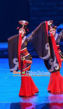 Guan Gong Chinese Classical Dance Black Dress Stage Performance Dance Costume and Headpiece for Women