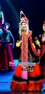 Impression Shanha Chinese She Nationality Dance Red Dress Stage Performance Dance Costume and Headpiece for Women