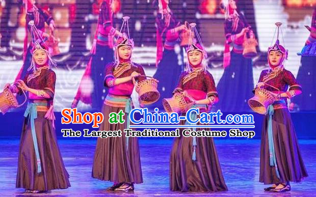 Impression Shanha Chinese She Nationality Folk Dance Black Dress Stage Performance Dance Costume and Headpiece for Women