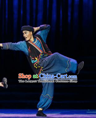 Impression Shanha Chinese She Nationality Navy Clothing Stage Performance Dance Costume for Men