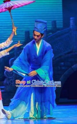 Sunsets Chinese Classical Dance Ancient Scholar Blue Clothing Stage Performance Dance Costume for Men