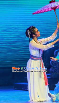Sunsets Chinese Classical Dance Bai Suzhen White Dress Stage Performance Dance Costume and Headpiece for Women