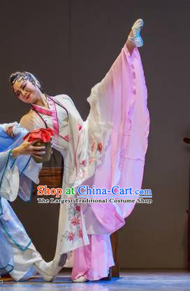 Sunsets Chinese Classical Dance White Dress Stage Performance Dance Costume and Headpiece for Women