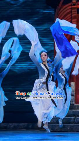 Sunsets Chinese Classical Dance Grey Dress Stage Performance Dance Costume and Headpiece for Women