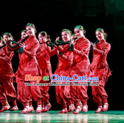 Fu Sheng Chinese Folk Dance Red Dress Stage Performance Dance Costume and Headpiece for Women