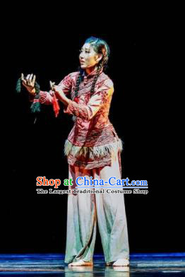 Fu Sheng Chinese Folk Dance Fan Dance Dress Stage Performance Dance Costume and Headpiece for Women