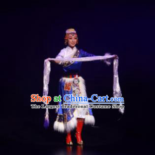 Meet Millennium Chinese Tibetan Nationality Dance Dress Stage Performance Dance Costume and Headpiece for Women