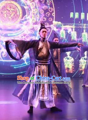 Meet Millennium Chinese Ancient Swordsman Dance Clothing Stage Performance Dance Costume for Men