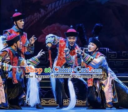 The Summer Palace Chinese Peking Opera Eunuch Clothing Stage Performance Dance Costume and Headpiece for Men