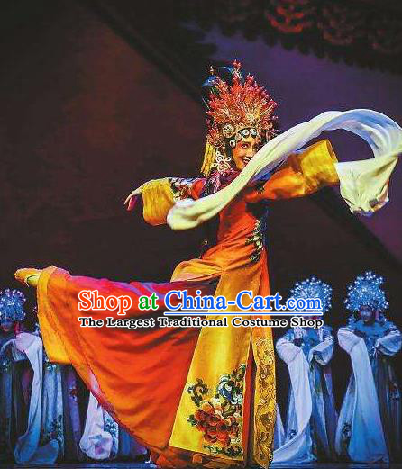 The Greatest Spirit Chinese Peking Opera Imperial Consort Dress Stage Performance Dance Costume and Headpiece for Women