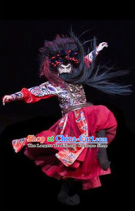 The Greatest Spirit Chinese Peking Opera Takefu Red Clothing Stage Performance Dance Costume and Headpiece for Men