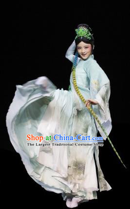 The Greatest Spirit Chinese Peking Opera Diva Green Dress Stage Performance Dance Costume and Headpiece for Women