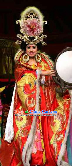 Rainbow Tribe Chinese Classical Dance Red Dress Stage Performance Dance Costume and Headpiece for Women