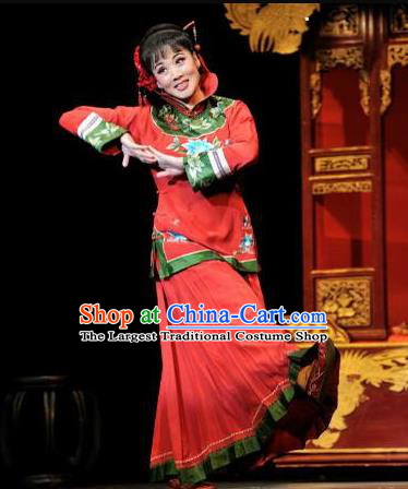 Huizhou Beauty Chinese Huangmei Opera Red Dress Stage Performance Dance Costume and Headpiece for Women