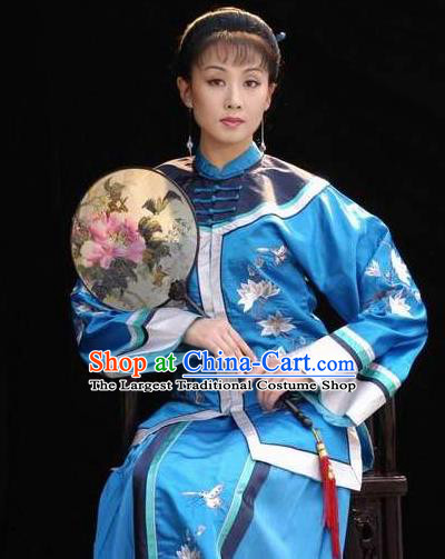 Huizhou Beauty Chinese Huangmei Opera Blue Dress Stage Performance Dance Costume and Headpiece for Women