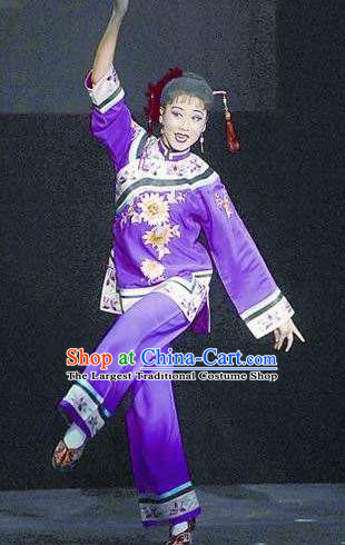 Huizhou Beauty Chinese Huangmei Opera Purple Dress Stage Performance Dance Costume and Headpiece for Women