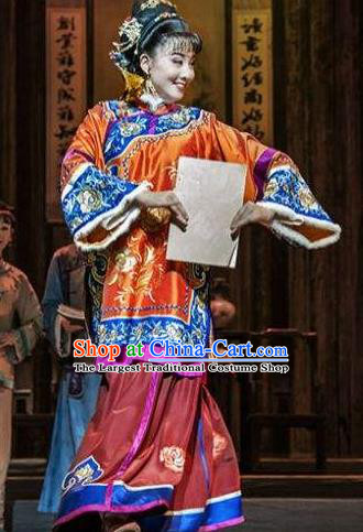 Huizhou Beauty Chinese Huangmei Opera Orange Dress Stage Performance Dance Costume and Headpiece for Women