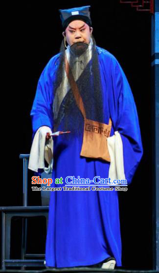 Huizhou Beauty Chinese Peking Opera Old Male Blue Clothing Stage Performance Dance Costume and Headpiece for Men
