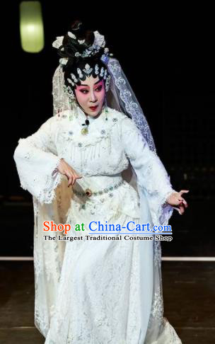 Sansheng Dream Chinese Cantonese Opera Diva White Dress Stage Performance Dance Costume and Headpiece for Women