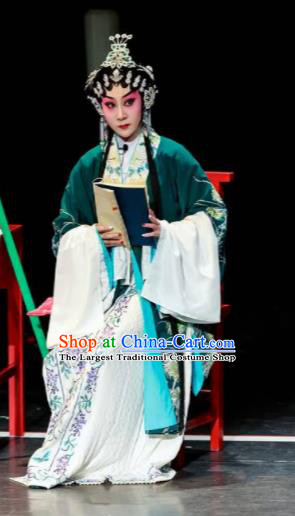 Sansheng Dream Chinese Cantonese Opera Diva Green Dress Stage Performance Dance Costume and Headpiece for Women