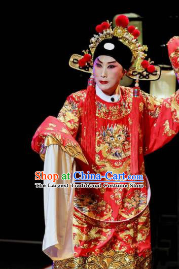 Sansheng Dream Chinese Cantonese Opera Bridegroom Red Clothing Stage Performance Dance Costume and Headpiece for Men