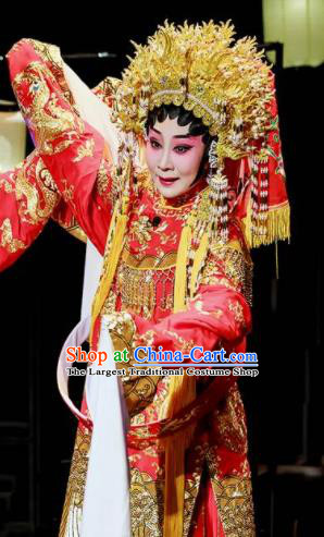 Sansheng Dream Chinese Cantonese Opera Bride Red Dress Stage Performance Dance Costume and Headpiece for Women