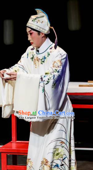 Sansheng Dream Chinese Cantonese Opera Scholar White Clothing Stage Performance Dance Costume and Headpiece for Men