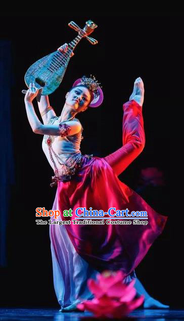 Dunhuang Reflections Chinese Classical Dance Flying Apsaras Dress Stage Performance Dance Costume and Headpiece for Women