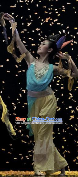 Dunhuang Reflections Chinese Classical Dance Yellow Dress Stage Performance Dance Costume and Headpiece for Women