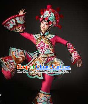 Dance Tianfu Chinese Sichuan Opera Rosy Dress Stage Performance Dance Costume and Headpiece for Women