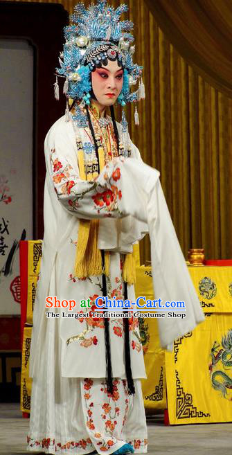 Imperial Concubine Mei Chinese Peking Opera Diva White Dress Stage Performance Dance Costume and Headpiece for Women