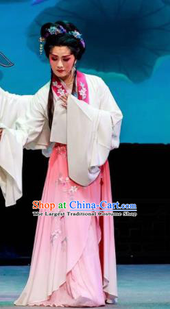 Phoenix Hairpin Chinese Peking Opera Pink Dress Stage Performance Dance Costume and Headpiece for Women