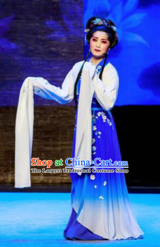 Phoenix Hairpin Chinese Peking Opera Diva Royalblue Dress Stage Performance Dance Costume and Headpiece for Women