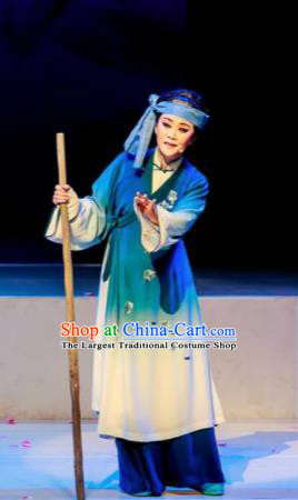 Huang Ye Hong Lou Chinese Peking Opera Civilian Blue Dress Stage Performance Dance Costume and Headpiece for Women