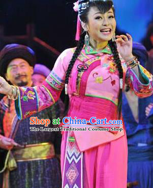 Huang Si Jie Chinese Tujia Minority Pink Dress Stage Performance Dance Costume and Headpiece for Women
