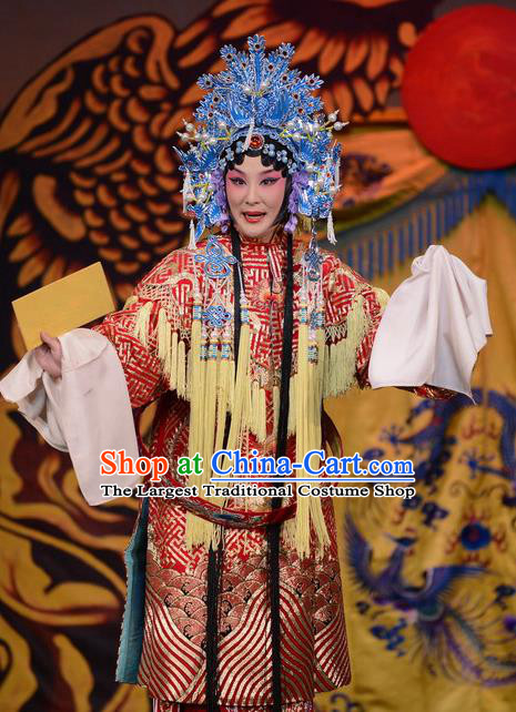 Imperial Concubine Mei Chinese Peking Opera Diva Red Dress Stage Performance Dance Costume and Headpiece for Women