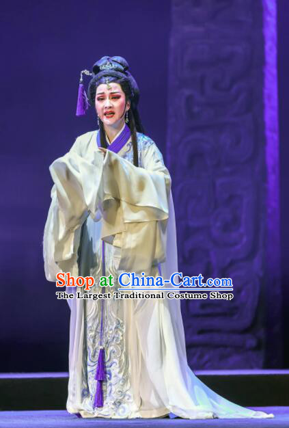 Chinese Shaoxing Opera Bronze Swallow Terrace White Dress Stage Performance Dance Costume and Headpiece for Women